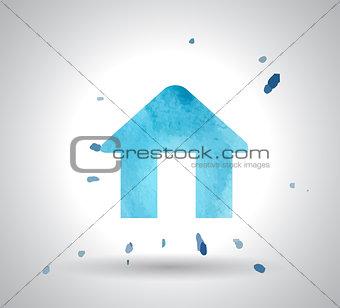 watercolor home icon