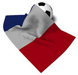 soccer ball and flag of france - 3d rendering