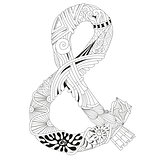 Hand drawn zentangle ampersand for coloring page.
