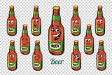 beer bottle emotions characters collection set