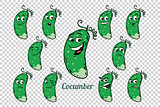 green cucumber emotions characters collection set