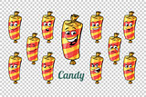 confectionery sweet candy in the wrapper emotions characters col