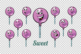 round Lollipop candy emotions characters collection set
