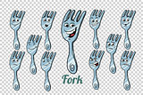 diner fork emotions characters collection set
