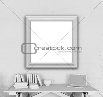 3D blank picture frame in an office
