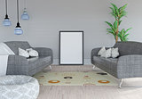 3D blank picture leaning against a wall in a room interior