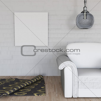 3D room interior with blank canvas on wall