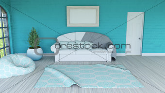 3D room interior with blank picture
