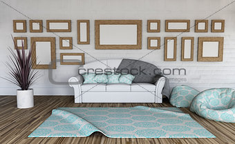 3D room interior with collection of blank picture frames on the