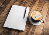 Book, pencil, coffee cup