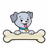 Cartoon Dog Puppy Bone