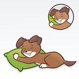 Cartoon dog puppy sleeping