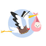 Stork Baby Illustration