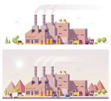 Vector low poly 2d factory