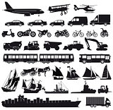 Set of cars, truck, bus, ships, bicycles, scooter, motorcycle,
