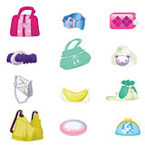 Woman accessories set. Collection of colorful female accessories bags and belts. Vector illustration.