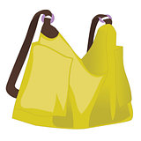 Yellow women handbag isolated on white background. Vector illustration.
