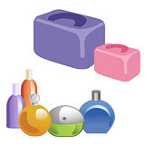 A set of perfumery and cosmetic bags. Perfumes, cosmetics solated vector object on white background.