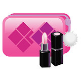 Gently pink lipstick with pink cosmetic bag. Open Black Tube. Vector illustration
