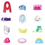 Woman accessories set. Collection of colorful female accessories bags, scarf, belts. Vector illustration.