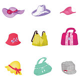 Woman accessories set. Collection of colorful female accessories bags and hats. Vector illustration.
