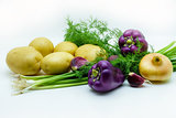 Assortment of fresh raw vegetables on white background. Selection includes potato, green onion, pepper, garlic and dill