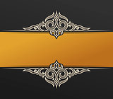 Banner islam ethnic design. Gold Invitation vintage label frame. Blank sticker emblem. Eastern black illustration for text