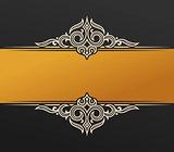 Banner islam ethnic design. Gold Invitation vintage label frame. Blank sticker emblem. Eastern black illustration for text