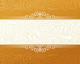 Banner islam ethnic design. Gold Invitation vintage label frame. Blank sticker emblem. Eastern white illustration for text