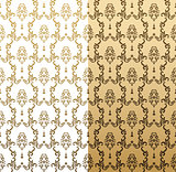 Vector seamless gold pattern with art ornament. Vintage elements for design in Victorian style. Ornamental lace tracery background