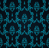 Vector seamless blue pattern with art ornament. Vintage elements for design in Victorian style. Ornamental lace tracery background. Ornate floral decor wallpaper