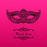 Beautiful mask of lace. Mardi Gras vector background