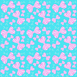 Seamless pattern with pink and blue bows from striped ribbons