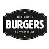 Burgers vintage sign retro
