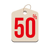 Fifty percent Sale tag