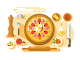 Pizza cooking design flat