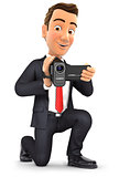 3d businessman filming with video camera