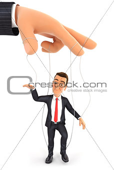 3d businessman puppet concept