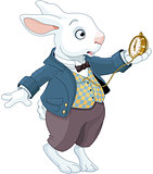White Rabbit Holds Watch