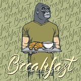 Vector Illustration of gorilla with croissant and coffee