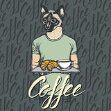 Vector Illustration of cat with croissant and coffee