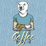 Vector Illustration of white bear with croissant and coffee