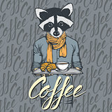 Vector Illustration of raccoon with croissant and coffee