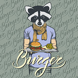 Vector Illustration of raccoon with burger and French fries