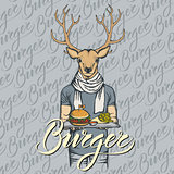Vector Illustration of deer with burger and French fries
