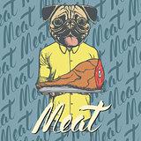 Vector pug dog with meat ham illustration