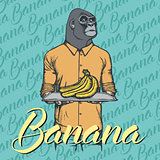 Vector gorilla with bananas illustration