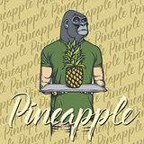 Vector gorilla with pineapple illustration