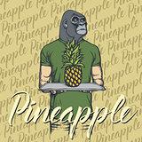 Vector gorilla with pineapple illustration