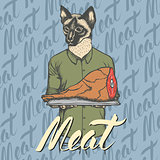 Vector cat with meat ham illustration